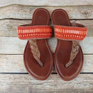 Ruff Hewn Boho vintage beaded sandals flip flops 7